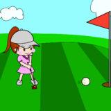 ウィニングパットを決める女子ゴルファー