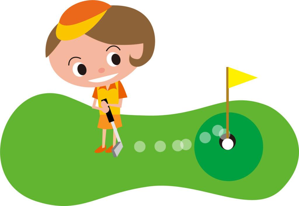 パッティングをする女子ゴルファー